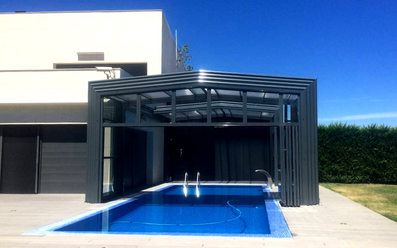 Abri piscine Haut télescopique 3 pans