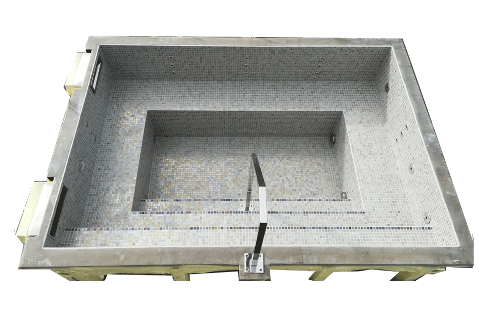 Spa rectangulaire skimmer carrelage